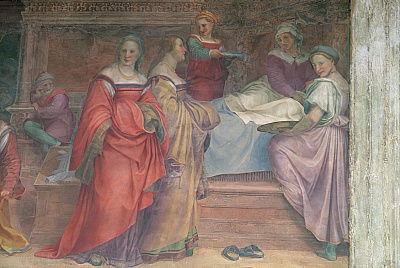 Bed Scene, from the Birth of the Virgin  (detail)