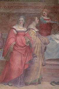 Ladies in Waiting, from the Birth of the Virgin  (detail)