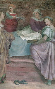 Ladies in Waiting, detail from the Birth of the Virgin