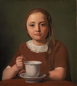 Portrait of a Little Girl, Elise Købke, with a Cup in front of her, 1850