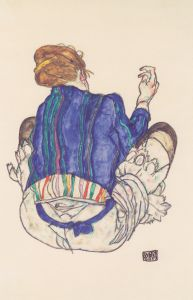 Back view of a seated woman