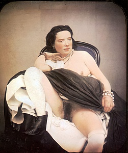 A woman sitting in a chair with one breast as well as her thighs and vagina exposed, wearing a pearl necklace, 1850 (hand-coloured stereoscopic daguerreotype)