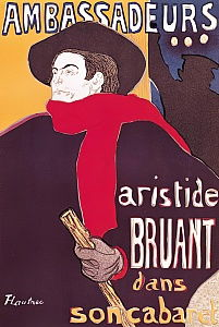 Poster advertising Aristide Bruant (1851-1925) in his cabaret at the Ambassadeurs, 1892
