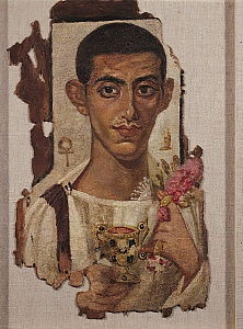Fayum portrait of Ammonius, from Antinoe (encaustic wax on linen)