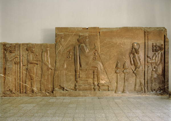 Audience relief from the north facade of the Apadana Stairway, Persepolis, depicting Darius I The Great, with his Crown Prince Xerxes (c.519-465 BC) standing behind him, Artabanus the major-domo befor by Achaemenid