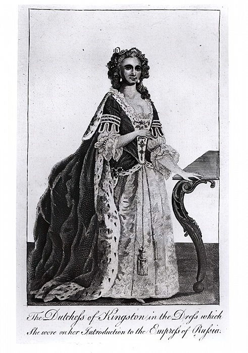 The Duchess of Kingston (1720-88) in the Dress which she wore on her Introduction to the Empress of Russia   by English School