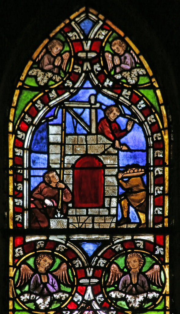 Window depicting Building the Tower of Babel  by French School