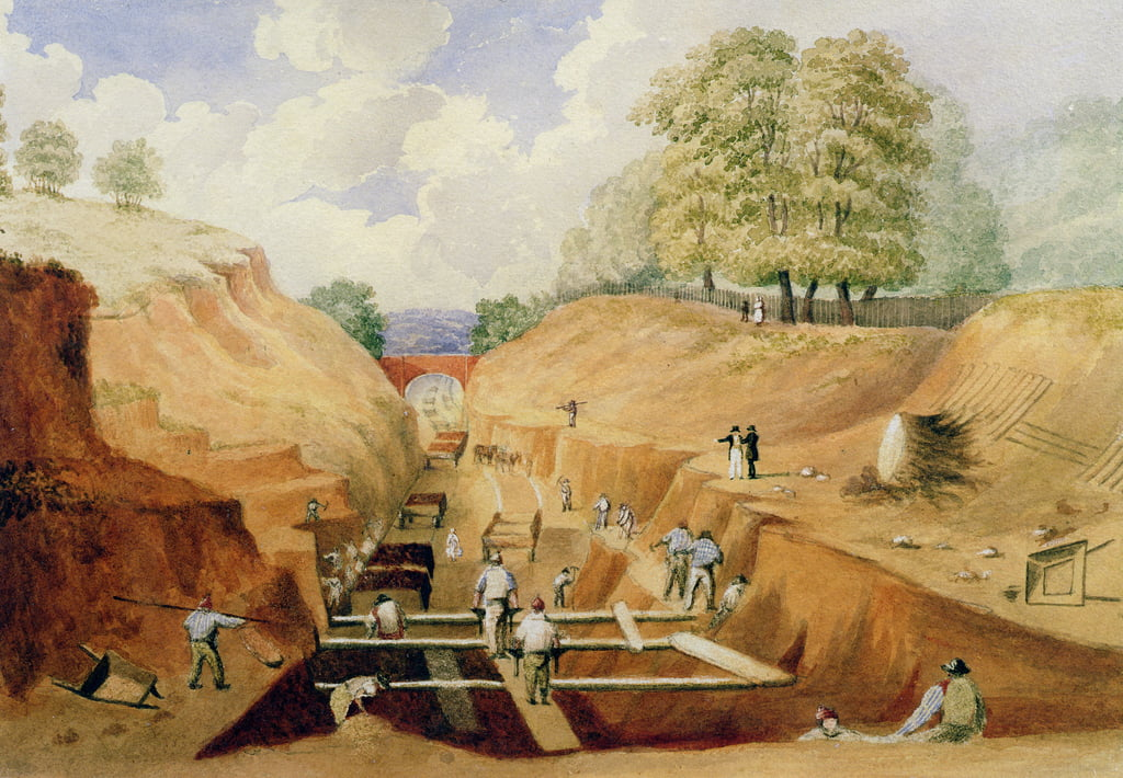 Building the Brighton Railway, 1840  by A. Simpson
