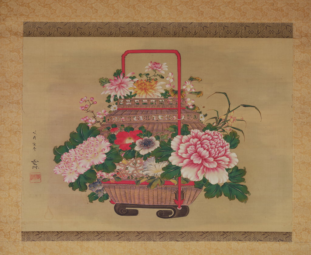 Basket of flowers, 1837 (ink and colours on silk) by Abe Kan Torin