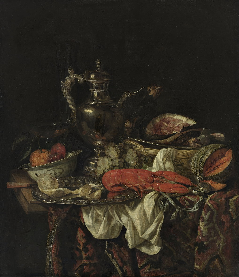 Still Life with a Silver Pitcher by Abraham van Beijeren