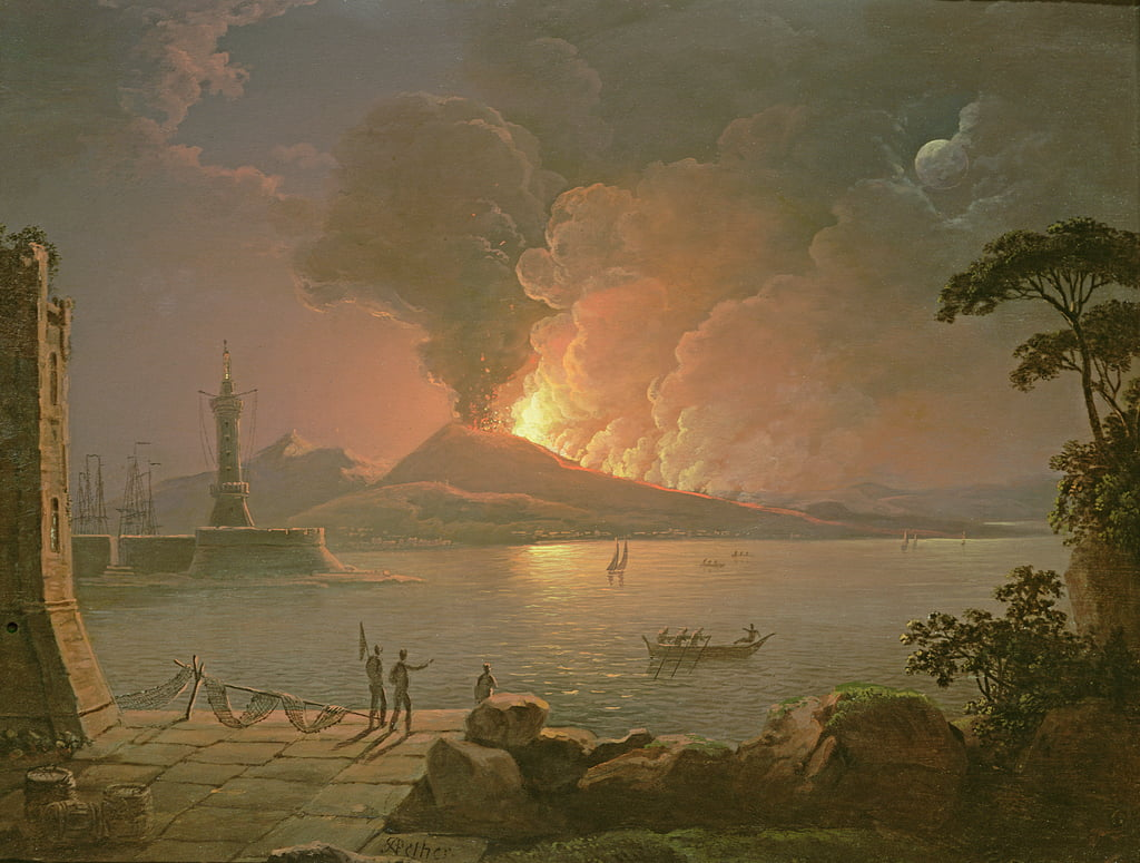 A View of Mount Vesuvius Erupting  by Abraham Pether