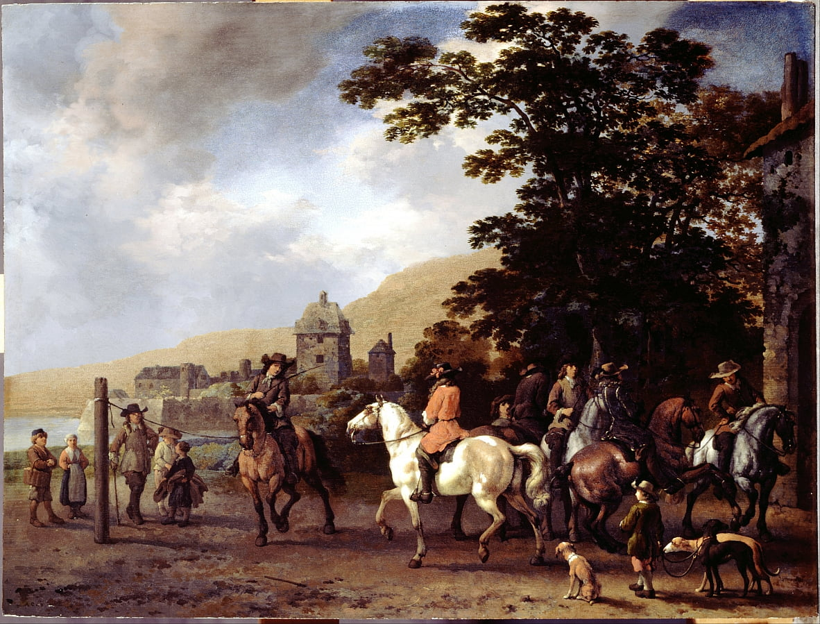 A Riding School in the Open Air by Abraham van Calraet