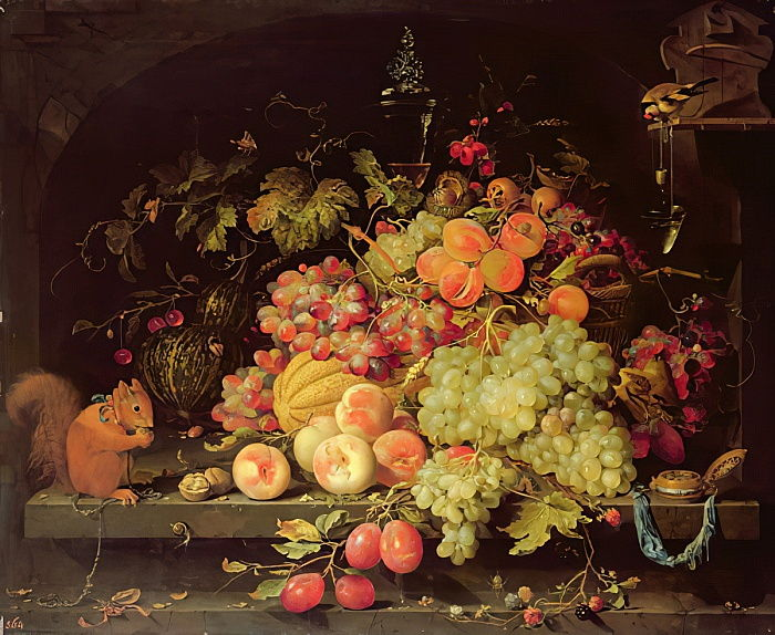 Still Life with Fruit, Squirrel and Goldfinch  by Abraham Mignon