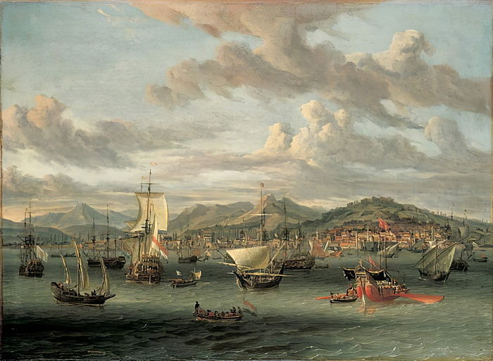 Dutch shipping off the Bay of Smyrna with a state barge by Abraham Storck