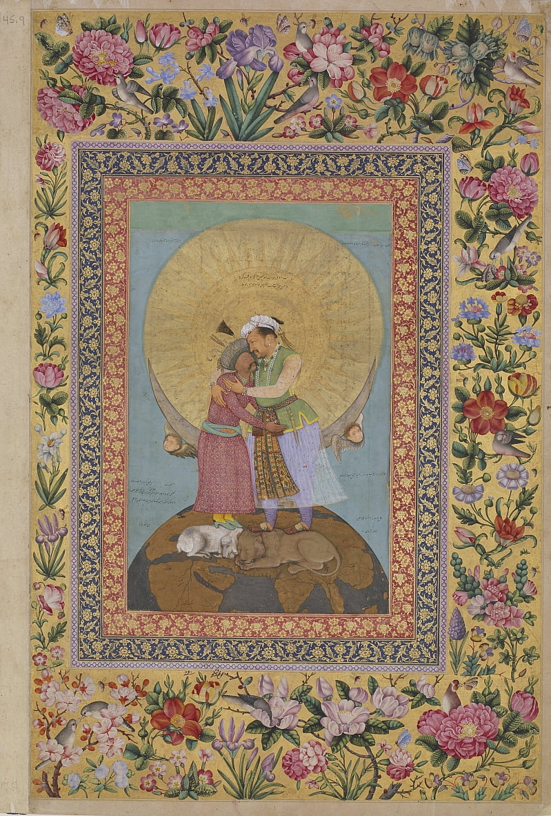 The St. Petersburg Album: Allegorical representation of Emperor Jahangir and Shah by Abul Hasan
