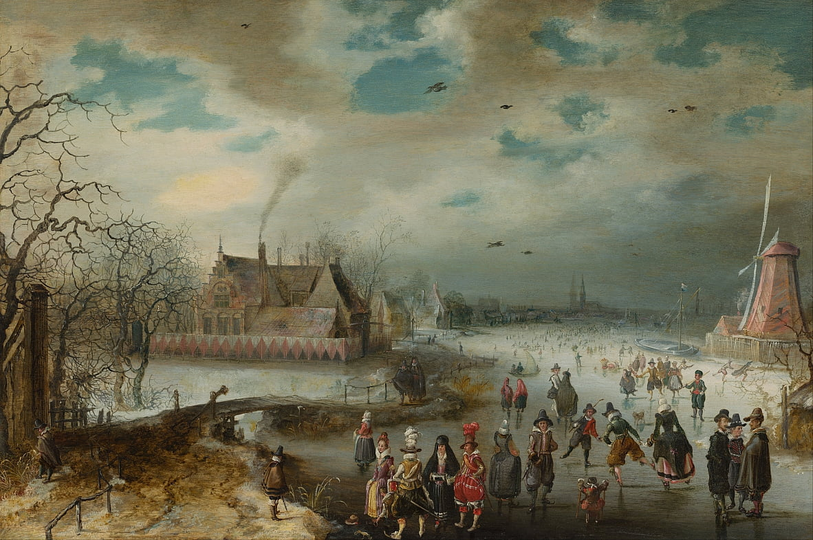 Skating on the Frozen Amstel River by Adam van Breen