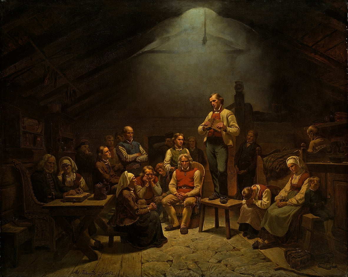 Low Church Devotion by Adolph Tidemand