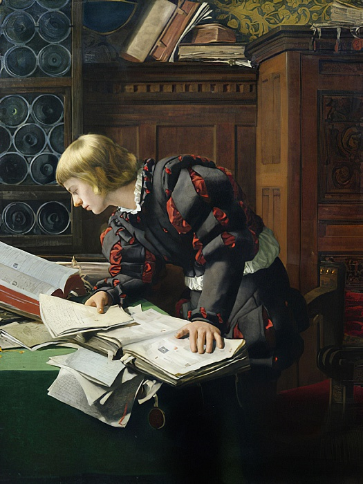 a Young Scholar in His Study by Adolph Tidemand