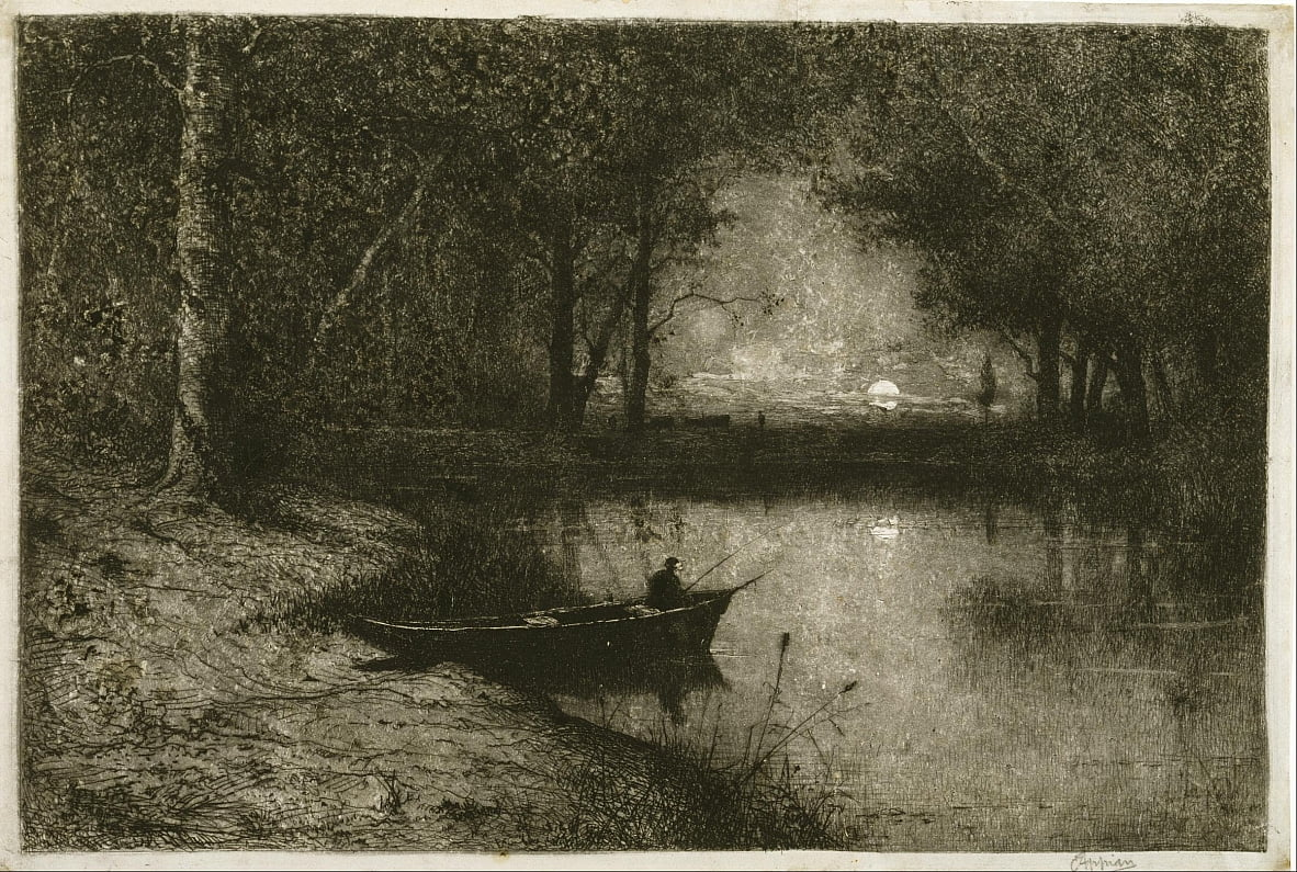 Fisherman in a Rowboat, at the Edge of a River by Adolphe Appian