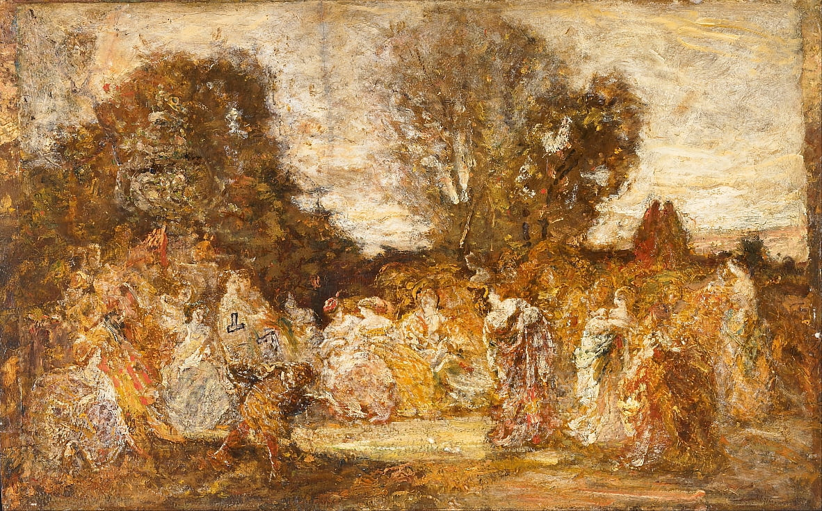 Ladies in a Garden by Adolphe Joseph Thomas Monticelli