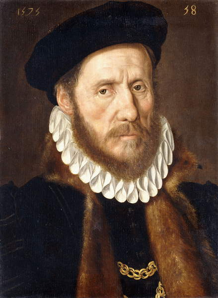 Portrait of a Bearded Gentleman, bust length, wearing Gold Chains beneath a Fur-lined Coat, 1575 by Adriaen Thomasz Key