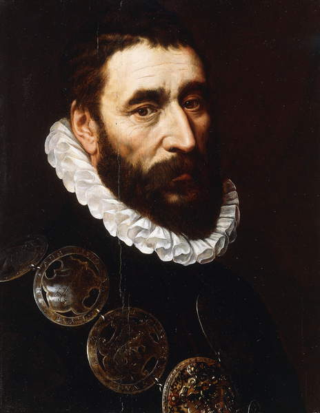 Portrait of a Bearded Man, bust-length, wearing gorgets,  by Adriaen Thomasz Key