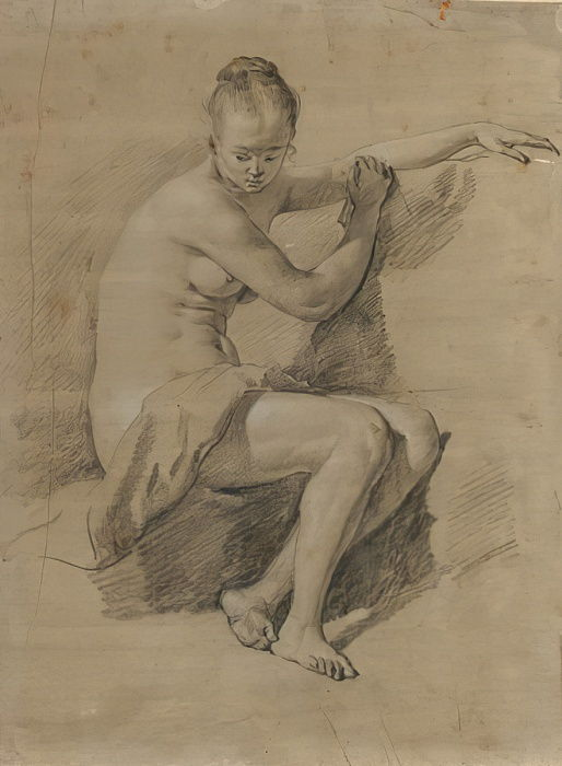 Seated female nude, c.1660-70 (Black and white chalk drawing) by Adriaen van de Velde