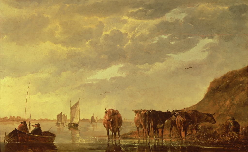 A herdsman with five cows by a river, c.1650 (panel) by Aelbert Cuyp