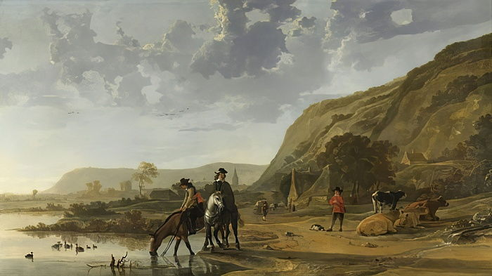 River Landscape with Riders, 1653-7  by Aelbert Cuyp