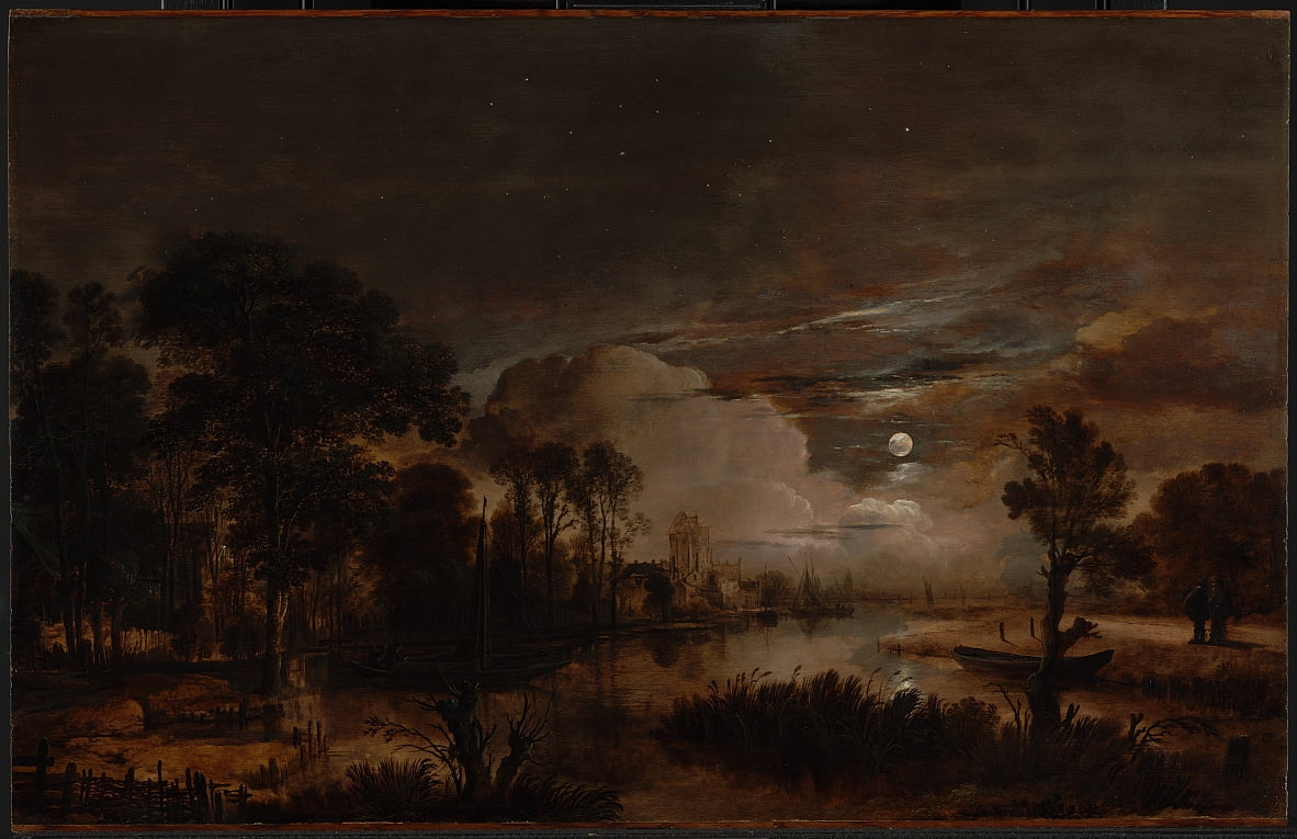 Moonlit Landscape with a View of the New Amstel River and Castle Kostverloren by Aert van der Neer