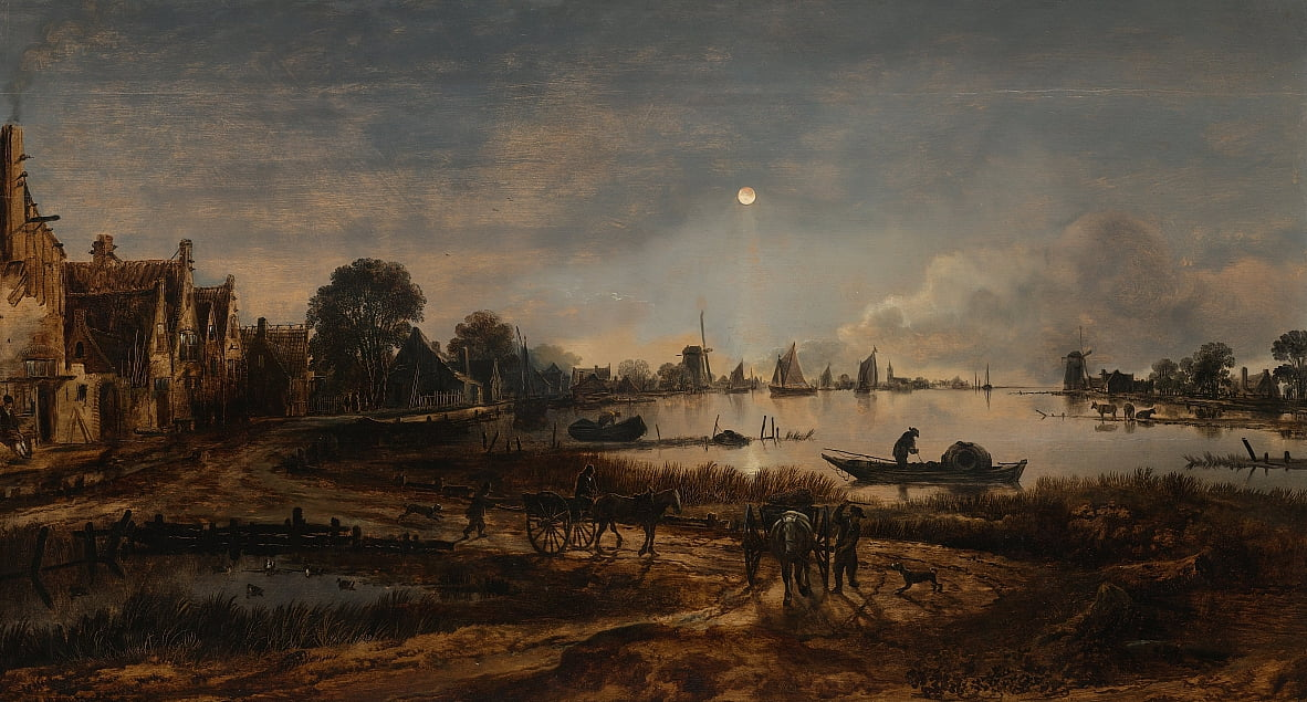 River View by Moonlight by Aert van der Neer