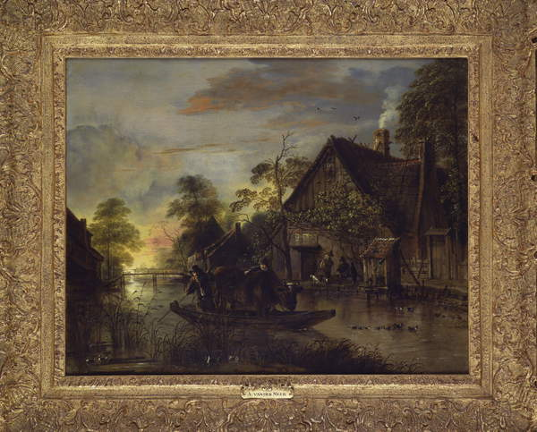 A River Landscape with Peasants Ferrying a Bull, Peasants by a Cottage Beyond by Aert van der Neer