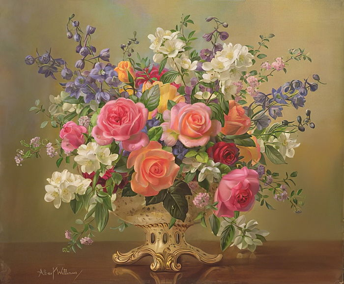 AB297 An Arrangement of June Flowers by Albert Williams