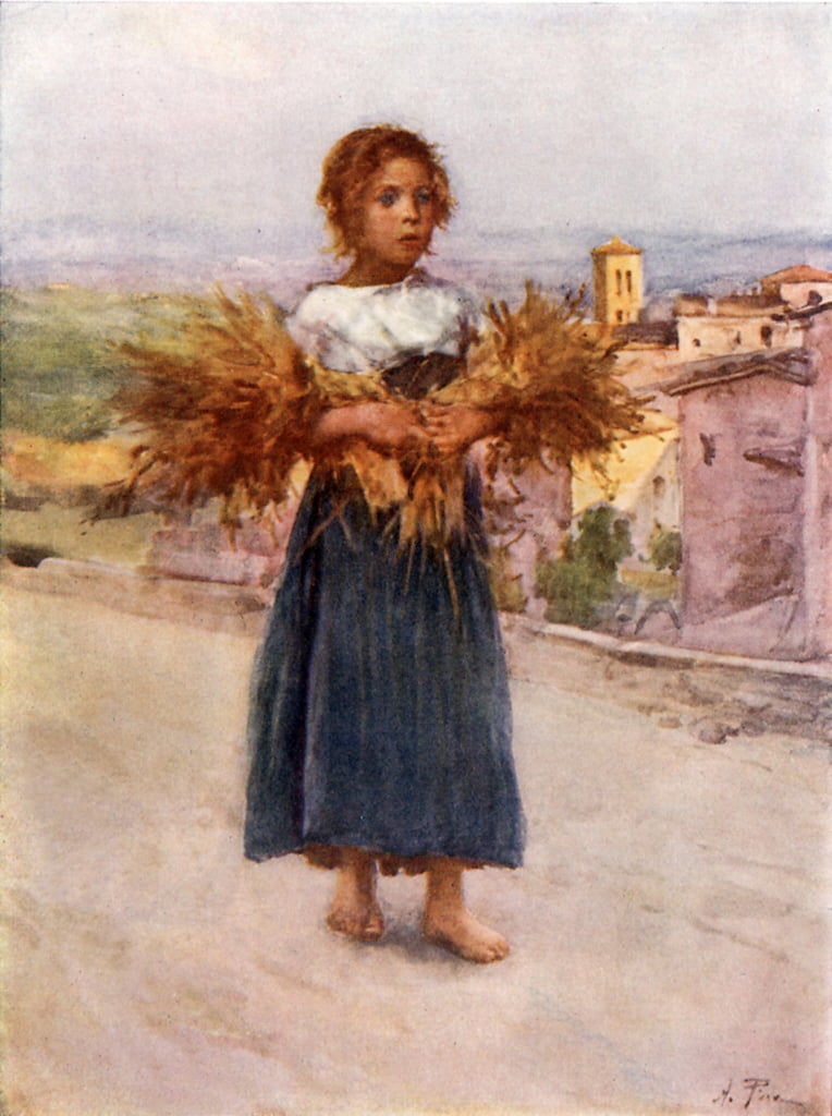 Little Gleaner in the Campagna by Alberto Pisa
