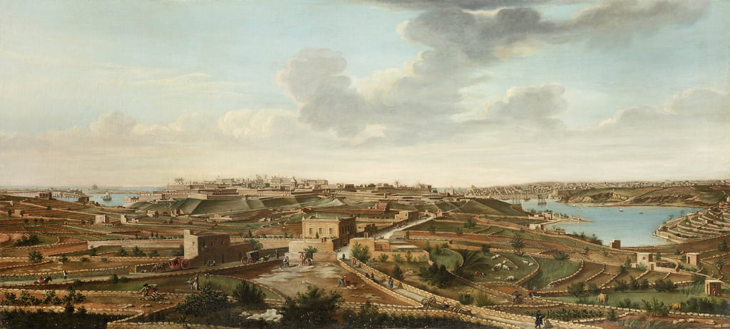 One of a set of seven views of Valletta, Malta and its environs, c.1753  by Alberto Pullicino