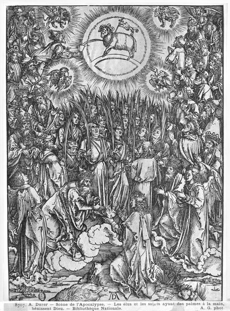 Scene from the Apocalypse, Adoration of the Lamb, German edition, 1498   by Albrecht Dürer