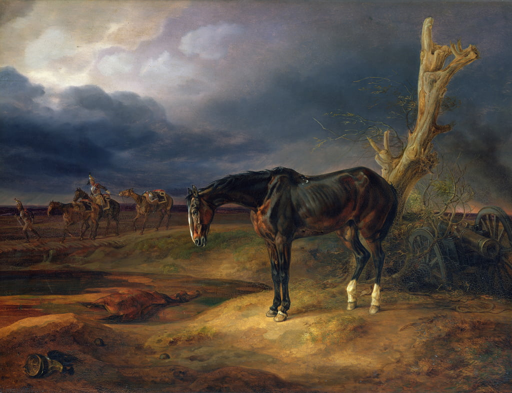 Ownerless Horse on the Battlefield at Moshaisk in 1812, 1834  by Albrecht Adam