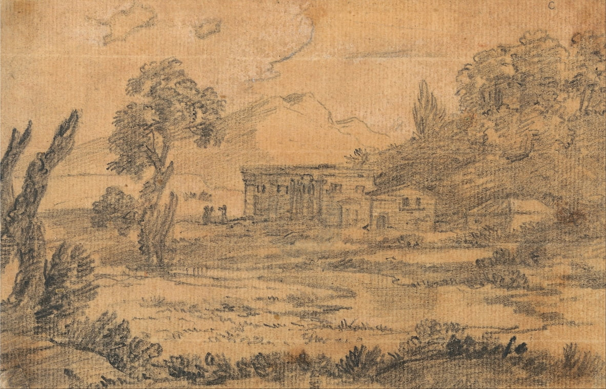 Buildings by a River with Hills in Background by Alexander Cozens