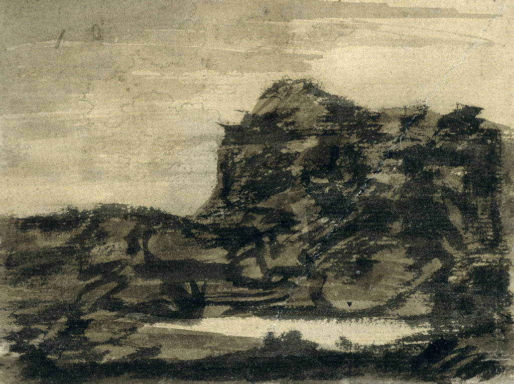 The Lake at the Foot of the Crag (pencil with black, grey und brown washes on paper) by Alexander Cozens
