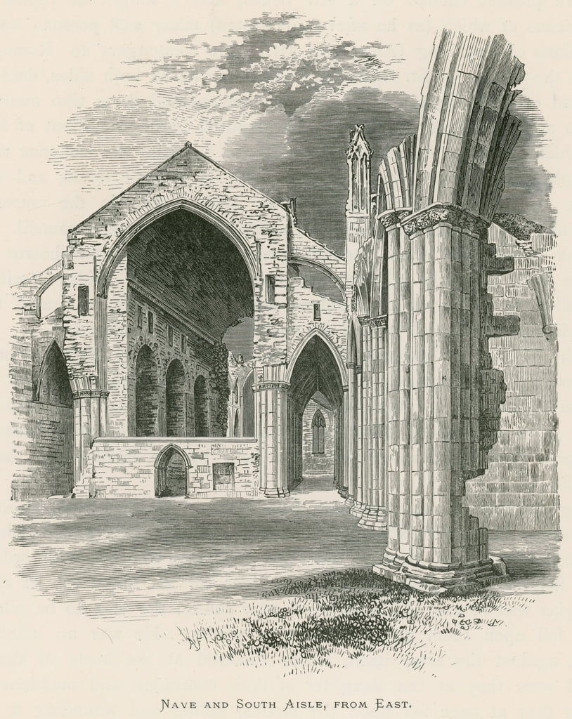 Melrose Abbey, Nave and South Aisle, from East  by Alexander Francis Lydon