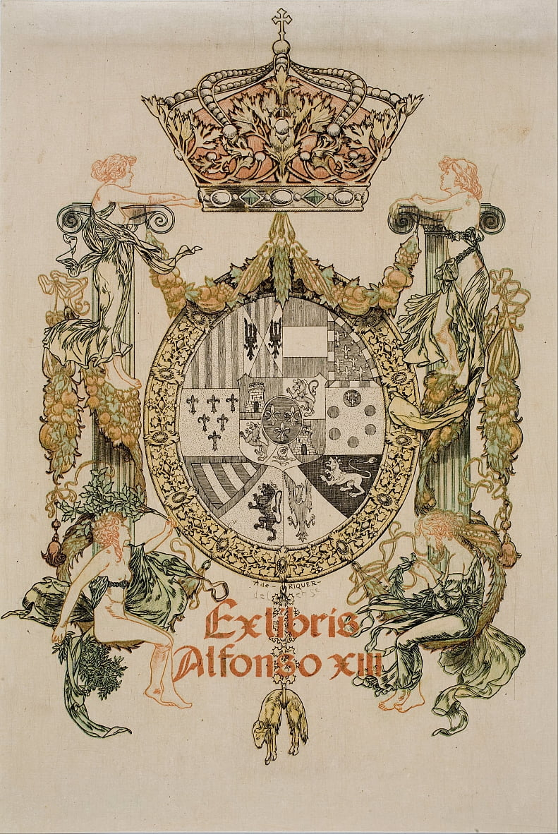 Book-plate of Alfons XIII by Alexandre de Riquer