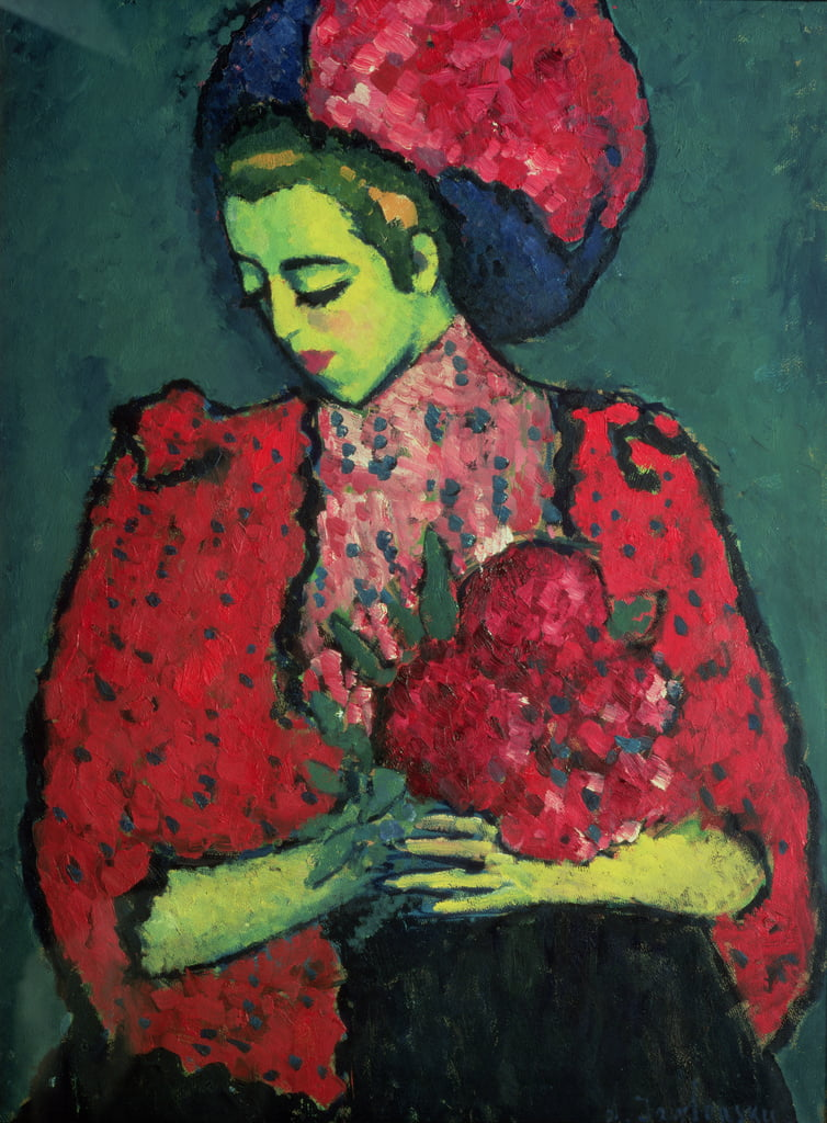 Young Girl with Peonies, 1909  by Alexej von Jawlensky