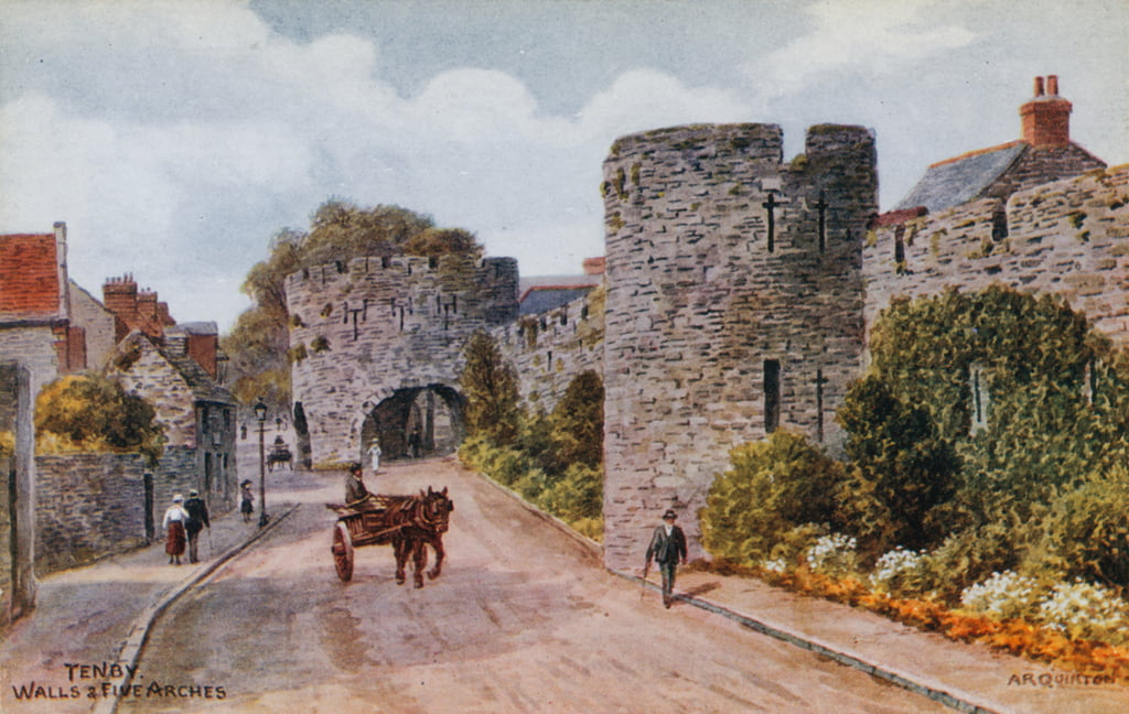 Tenby, Walls and Five Arches  by Alfred Robert Quinton