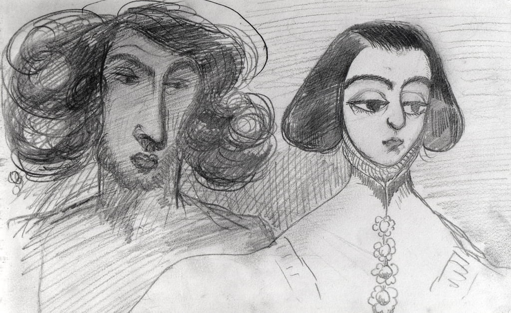 Self Portrait with George Sand (1804-76)   by Alfred de Musset