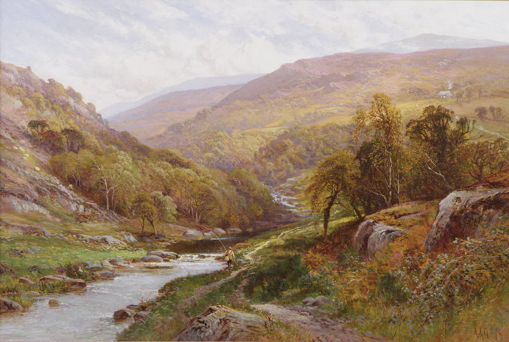 A Fisherman by a Highland Stream  by Alfred Augustus Glendening