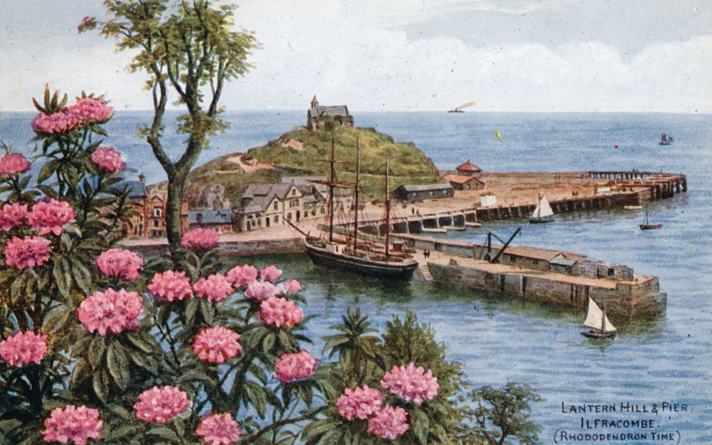 Lantern Hill and Pier, Ilfracombe, (Rhododendron Time)  by Alfred Robert Quinton
