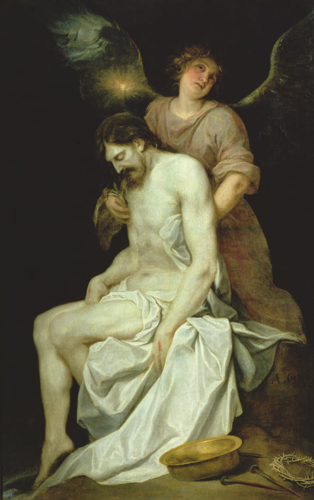 The dead Christ supported by an angel  by Alonso Cano