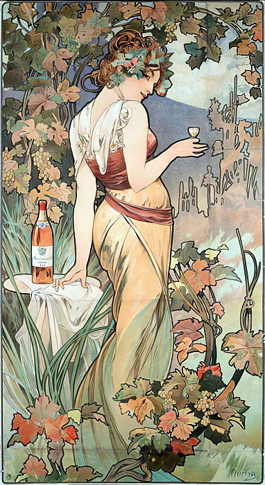 "Advertising poster by Alphonse Mucha (1860-1939) for the Cognac Bisquit, Dubouche, 1899 - Advertising poster by Alphonse Mucha for ""Cognac Bisquit, Dubouche"" , 1899 Sun 61x32 cm Private collection by Alphonse Mucha"