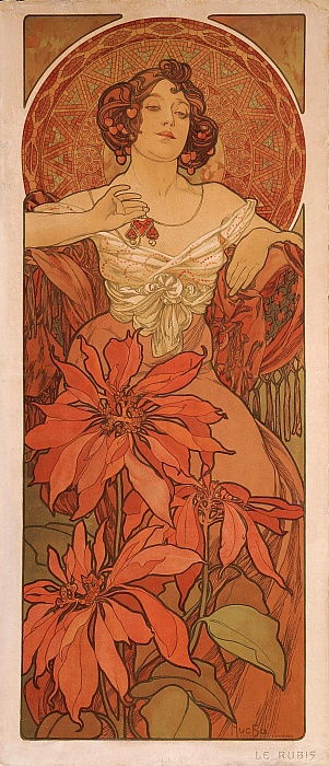 Ruby From the series The gems by Alphonse Mucha