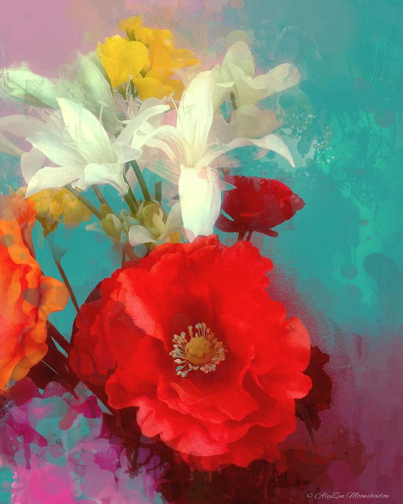 Poppy and Friends, 2014, (digital mixed media phoneography) by AlyZen Moonshadow